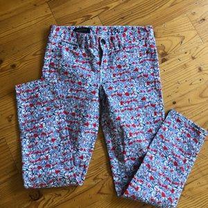 Jcrew toothpick floral ankle pants Sz 26
